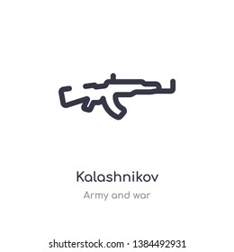 kalashnikov outline icon. isolated line vector illustration from army and war collection. editable thin stroke kalashnikov icon on white background