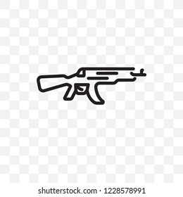 Kalashnikov vector linear icon isolated on transparent background, Kalashnikov transparency concept can be used for web and mobile
