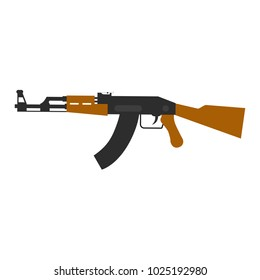 Kalashnikov's automatic machine in a flat design. AK-47 on isolated white background. Vector illustration