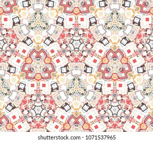 Kaleidoscope abstract seamless pattern, background. Composed of colored geometric shapes. Useful as design element for texture and artistic compositions.