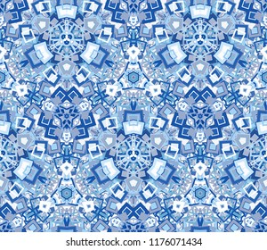 Kaleidoscope abstract seamless pattern, background. Composed of geometric shapes in blue. Useful as design element for texture and artistic compositions.