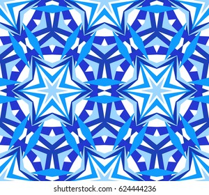 Kaleidoscope Pattern. Seamless blue background. Mandala geometric graphic print. Psychedelic design element for wallpaper, scrapbooking, fabric. Flower vector illustration