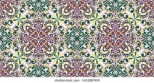 Kaleidoscope seamless pattern. Composed of color abstract shapes and floweras. Useful as design element for texture and artistic compositions. - Vector