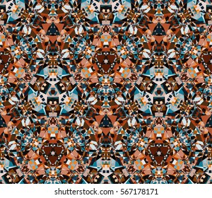 Kaleidoscope seamless pattern. Composed of color abstract shapes. Useful as design element for texture and artistic compositions.