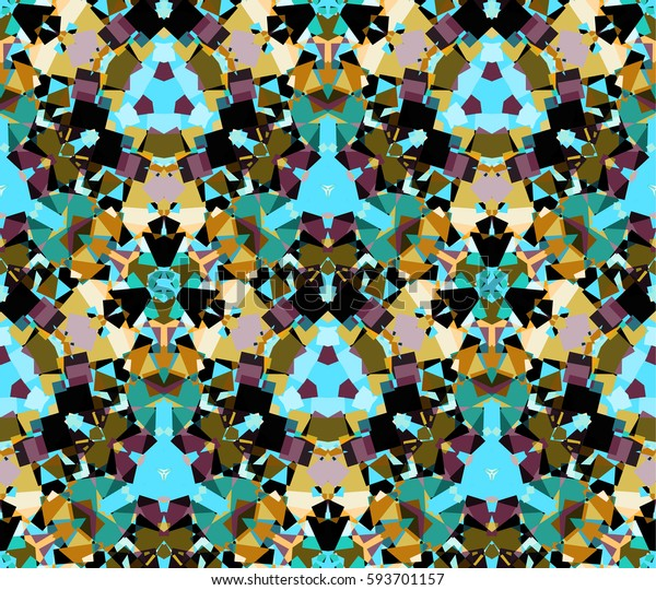 Kaleidoscope seamless pattern. Composed of multicolored abstract shapes. Useful as design element for texture and artistic compositions.