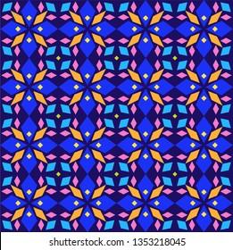 Kaleidoscope, seamless pattern, geometric, blue, vector. Geometric pattern. Multicolored, flat vector. Seamless pattern.