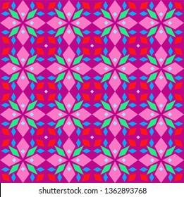 Kaleidoscope, seamless pattern, geometric, lilac, vector. Geometric pattern. Multicolored, flat vector. Seamless pattern.