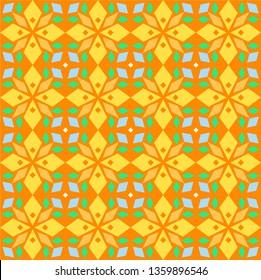 Kaleidoscope, seamless pattern, geometric, orange, vector. Geometric pattern. Multicolored, flat vector. Seamless pattern.