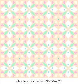 Kaleidoscope, seamless pattern, geometric, pink, vector. Geometric pattern. Color, flat vector.