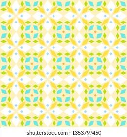 Kaleidoscope, seamless pattern, geometric, yellow, vector. Geometric pattern. Multicolored, flat vector. Seamless pattern.