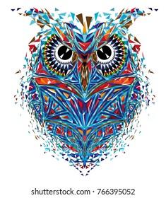 Kaleidoscopic owl in blue-orange tones