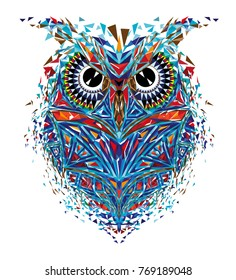 Kaleidoscopic owl in red-blue tones