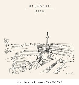 Kalemegdan Fortress and Viktor Monument in Belgrade, Serbia. Hand drawing in retro style. Travel sketch. Vintage touristic postcard, poster, calendar or book illustration in vector