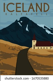 Kalfafell Iceland Vector Illustration Background. Travel to Kálfafell Hamlet South East Iceland. Flat Cartoon Vector Illustration in Colored Style.