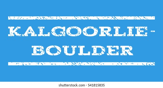 Kalgoorlie-Boulder watermark stamp. Text caption between horizontal parallel lines with grunge design style. Rubber seal stamp with dirty texture. Vector white color ink imprint on a blue background.