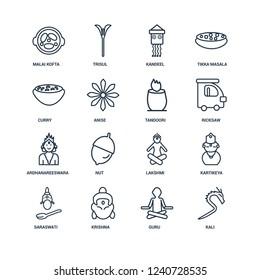 Kali, Guru, Krishna, Saraswati, Kartikeya, Malai kofta, Curry, Ardhanareeswara, Tandoori outline vector icons from 16 set