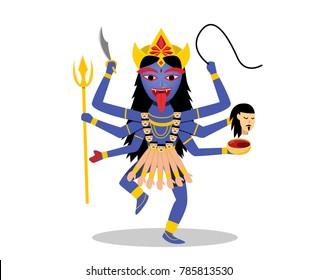 Kali, Hindu goddess isolated on white, vector