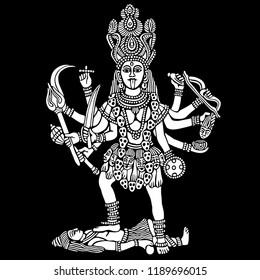 Kali hindu goddess vector