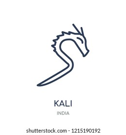 Kali icon. Kali linear symbol design from India collection. Simple outline element vector illustration on white background.