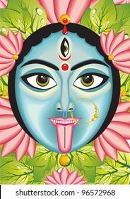 Kali - Indian Goddess face, vector