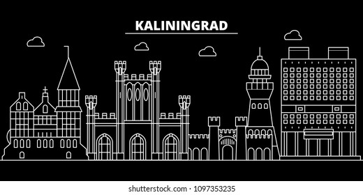 Kaliningrad city silhouette skyline. Russia - Kaliningrad city vector city, russian linear architecture. Kaliningrad city travel illustration, outline landmarks. Russia flat icon, russian line banner