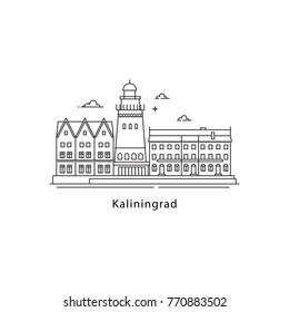 Kaliningrad logo isolated on white background. Kaliningrad's landmarks line vector illustration. Traveling to Russia cities concept.