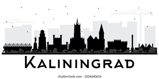 Kaliningrad Russia City Skyline Silhouette with Black Buildings. Vector Illustration. Business Travel and Tourism Concept with Historic Architecture. Kaliningrad Cityscape with Landmarks.