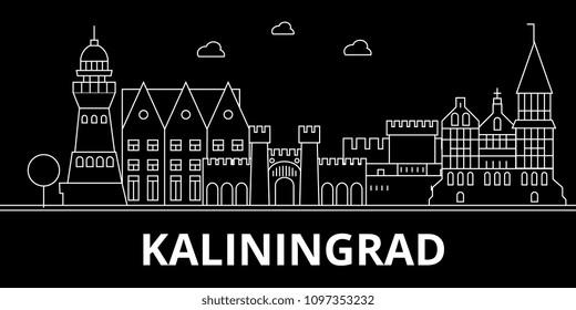 Kaliningrad silhouette skyline. Russia - Kaliningrad vector city, russian linear architecture, buildings. Kaliningrad travel illustration, outline landmarks. Russia flat icon, russian line banner