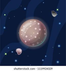 Kallisto vector cartoon illustration. Brown Jupiter moon Callisto of Solar system in dark deep blue space, isolated on blue background