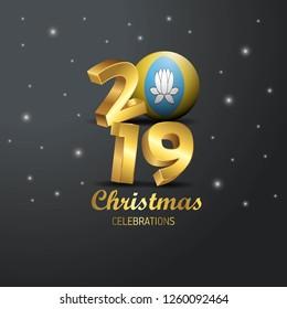 Kalmykia Flag 2019 Merry Christmas Typography. New Year Abstract Celebration background