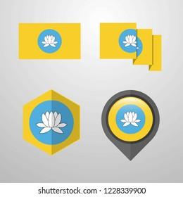 Kalmykia flag design set vector
