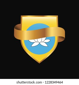 Kalmykia flag Golden badge design vector