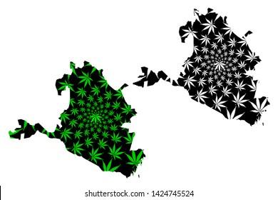 Kalmykia (Russia, Subjects of the Russian Federation, Republics of Russia) map is designed cannabis leaf green and black, Republic of Kalmykia map made of marijuana (marihuana,THC) foliage,