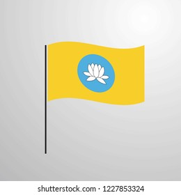 Kalmykia waving Flag