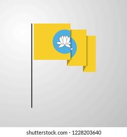 Kalmykia waving Flag creative background