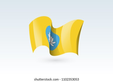 Kalmykia waving flag vector icon, national symbol. Flag of Kalmykia, fluttered in the wind - vector illustration isolated on white background.