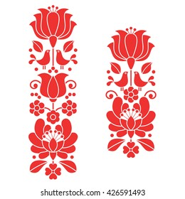 Kalocsai red embroidery - Hungarian floral folk art long patterns