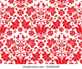 Kalocsai red floral emrboidery seamless pattern - Hungarian folk art background