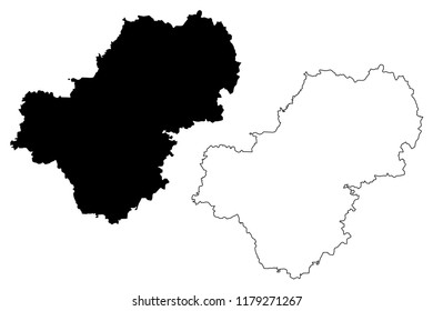 Kaluga Oblast (Russia, Subjects of the Russian Federation, Oblasts of Russia) map vector illustration, scribble sketch Kaluga Oblast map