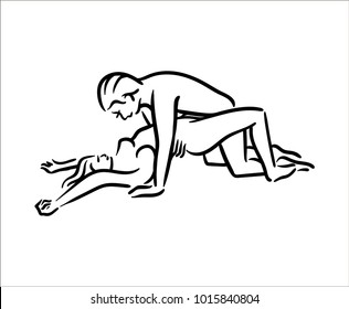 Kama Sutra sex pose man and woman in love illustration