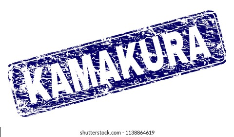 KAMAKURA stamp seal print with distress texture. Seal shape is a rounded rectangle with frame. Blue vector rubber print of KAMAKURA label with unclean texture.