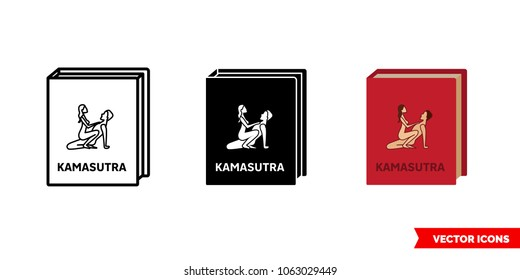 Kamasutra book icon of 3 types: color, black and white, outline. Isolated vector sign symbol.