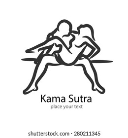 Kamasutra position icon. grey background