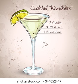 Kamikaze alcohol cocktail, consisting of Vodka, orange liqueur, lime