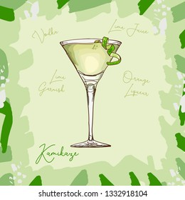Kamikaze fresh Contemporary classic cocktail, consisting of Vodka, orange liqueur, lime . Alcoholic cocktails hand drawn vector illustration set. Menu isolated design item of sketch bar drink glass.