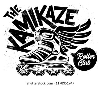 Kamikaze Rolling Club Grunge Design with winged roller skate. Dirty monochrome design.