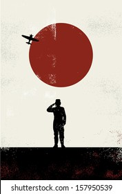 Kamikaze suicide bomber poster, vector