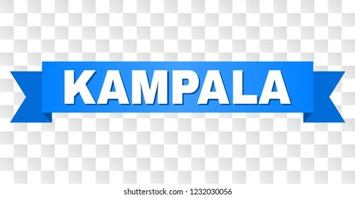KAMPALA text on a ribbon. Designed with white caption and blue tape. Vector banner with KAMPALA tag on a transparent background.