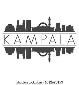 Kampala Uganda Africa Skyline Vector Art Mirror Silhouette Emblematic City Buildings