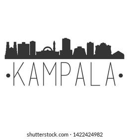 Kampala Uganda. City Skyline. Silhouette City. Design Vector. Famous Monuments.